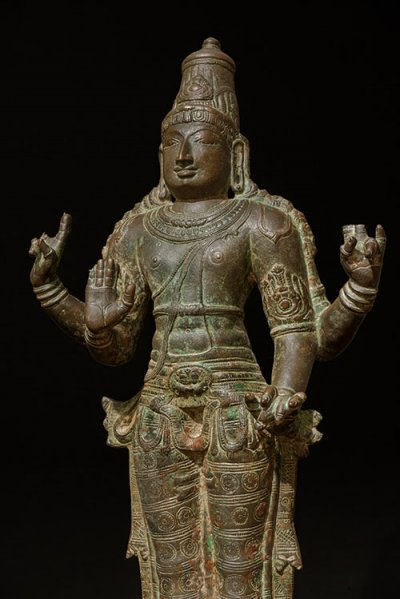 VishnuSouth India c.1300, late- Chola Period Bronze 23 ¼ in. (59.4 cm.) Provenance: Sothebys, New York, September 20th, 2005, Lot no.69