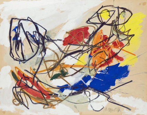 Karel Appel, Rencontre, Mixed media on paper 1954, 51 x 65 cm, Acquired by Willem Sandberg for the Peter Stuyvesant Collection in 1964. This work is registered in the archive of the Karel Appel Foundation.