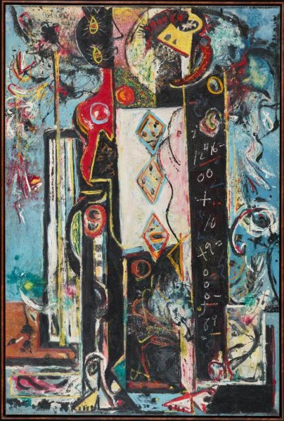 Jackson Pollock Masculin et féminin (Male and Female), 1942–43 Huile sur toile 186,1 x 124,3 cm Philadelphia Museum of Art. Donation de M. et Mme H. Gates Lloyd, 1974 Photo : Philadelphia Museum of Art © The Pollock-Krasner Foundation VEGAP, Bilbao, 2016