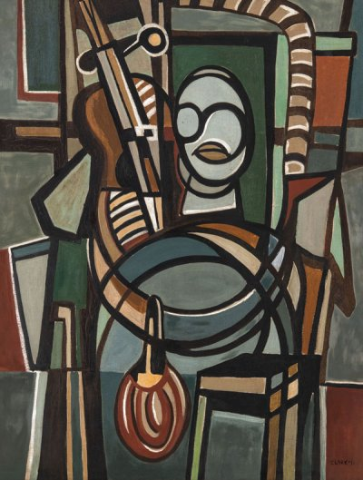 "Lygia Clark The Violoncellist (O Violoncelista), 1951 Oil on canvas 105.5 x 81 x 2.7 cm Private collection © Courtesy of ""The World of Lygia Clark"" Cultural Association X.2017.23"