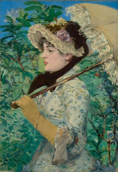 Jeanne (Spring), 1881. Édouard Manet (French,  1832 - 1883). Oil on canvas. Unframed: 74 × 51.5  cm (29 1/8 × 20 1/4 in.) Framed: 98.7 × 75.9 ×  9.2 cm (38 7/8 × 29 7/8 × 3 5/8 in.) The J. Paul  Getty Museum, Los Angeles. Accession No.  2014.62.