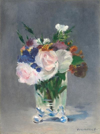 Flowers in a Crystal Vase, about 1882. Édouard  Manet (French, 1832 - 1883). Watercolor, wash,  pen and ink. Unframed (closed): 20.2 × 12.7 cm (7  15/16 × 5 in.) Unframed (open): 20.2 × 25.4 cm (7  15/16 × 10 in.) Framed: 35.6 × 45.7 cm (14 × 18  in.) Fondation Custodia, Collection Frits Lugt, Paris.  Accession No. EX.2019.3.21
