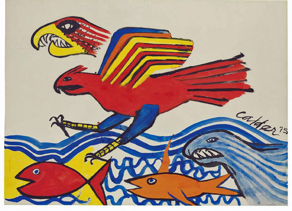 Alexander Calder  Eagle and Fish, 1975  Signed and dated on the lower right  Gouache and ink on paper  58,4 x 77,4 cm