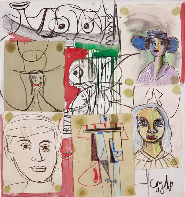 George Condo  Late Night in St. Moritz, 1990  Signed and dated on the lower right  Pastel, charcoal, gouache, paper collage on canvas  160 x 150 cm