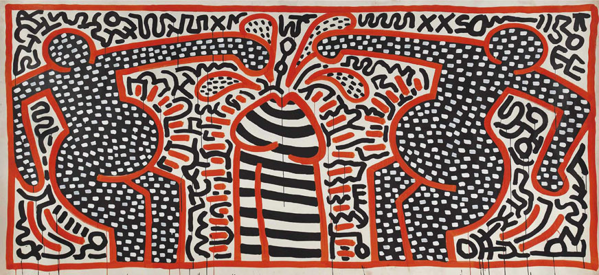 Keith Haring  Untitled (May 24 - 83), 1983  Signed and dated on the reverse  Acrylic on paper 183 x 377 cm