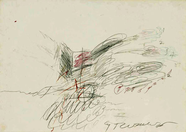 Cy Twombly  Untitled, 1963  Signed and dated on the lower right, signed and dedicated on the reverse  Pencil, crayon and biro on paper  50 x 70 cm