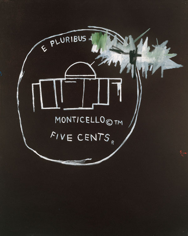Jean-Michel Basquiat  Monticello, 1986  Signed, titled and dated on the reverse  Acrylic on canvas 127 x 99 cm