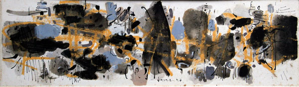 John Harrison Levee Gouache N°24 Yellow and Black Composition 1957 dimensions 8,6 x 33 cm (4 x 13 in.)
