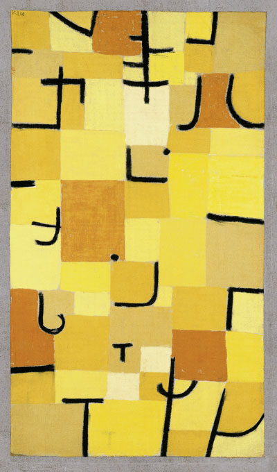 Paul Klee Zeichen in Gelb, 1937, 210 signes en jaune Pastel sur coton sur peinture à la colle sur jute sur châssis original 83,5 x 50,3 cm Fondation Beyeler, Riehen/Bâle, Collection Beyeler Photo : Robert Bayer Courtesy Fondation Beyeler