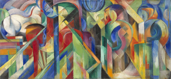 Franz Marc Écuries, 1913 Huile sur toile, 73,6 x 157,5 cm Solomon R. Guggenheim Museum, New York, Solomon R. Guggenheim Founding Collection
