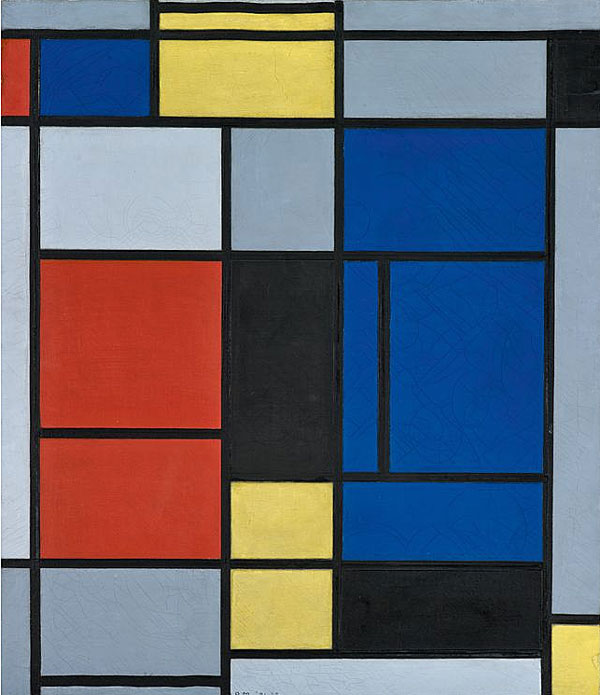 Piet Mondrian Tableau No. I, 1921–1925 Huile sur toile, 75,5 x 65,5 cm Fondation Beyeler, Riehen / Bâle, Collection Beyeler © Mondrian / Holtzman Trust c/o HCR International Warrenton, VA USA Photo : Robert Bayer, Bâle