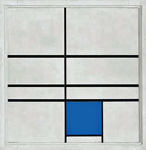 Piet Mondrian Composition with Double Line and Blue, 1935 Huile sur toile, 72,5 x 70,0 cm Fondation Beyeler, Riehen / Bâle, Collection Beyeler © Mondrian / Holtzman Trust c/o HCR International Warrenton, VA USA Photo : Robert Bayer, Bâle