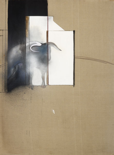 Francis Bacon Étude d'un taureau (Study of a Bull), 1991 Huile, peinture en aérosol et poudre sur toile 198 x 147,5 cm Collection particulière, Londres © The Estate of Francis Bacon. Tous droits réservés DACS/VEGAP, Bilbao, 2016 Photo : Prudence Cuming Associates Ltd.