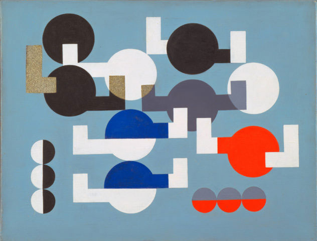 "Sophie Taeuber-Arp. Composition of Circles and Overlapping Angles. 1930. Oil on canvas. 19 ½ x 25 ¾"" (49.5 x 64.1 cm). The Museum of Modern Art, New York. The Riklis Collection of McCrory Corporation. Photo: The Museum of Modern Art, Department of Imaging and Visual Resources. © 2019 Artists Rights Society (ARS), New York / VG Bild-Kunst, Bonn"