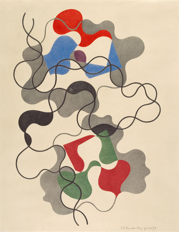 Sophie Taeuber-Arp. Lignes d'été. 1942. Colored pencil on paper. 19 1/8 × 14 3/4″ (48.5 × 37.5 cm). Emanuel Hoffmann Foundation, on permanent loan to the Öffentliche Kunstsammlung Basel. Photo: Kunstmuseum Basel, Martin P. Bühler. © 2020 Stiftung Arp e.V., Berlin/Rolandswerth / Artists Rights Society (ARS), New York