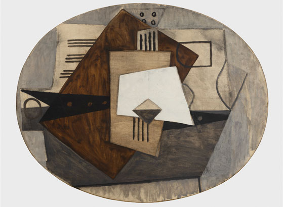 Pablo Picasso (1881-1973). Still Life with Guitar. Paris or Juan-les-Pins, [1920]. Fundación Almine y Bernard Ruiz-Picasso para el Arte, Madrid. On temporary loan to the Museo Picasso Málaga © FABA photo: Hugard & Vanoverschelde Photography © Sucesión Pablo Picasso, VEGAP, Madrid, 2020