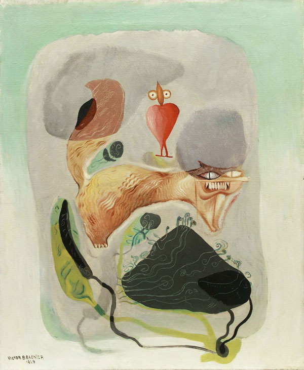 Victor Brauner, Plantes si Animale, 1928. Oil on canvas, 24 x 19 5/8 inches (61 x 50 cm)